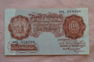 Bank of England Ten Shilling 10/- Banknotes PEPPIATT 28L 374396 bit dirty, sadly