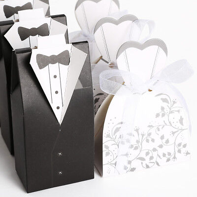 100 200 Wedding Bomboniere Cake Candy Favour Boxes Dress & Tuxedo Bride Groom AU
