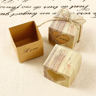 100 Heart Rustic Kraft Bomboniere Candy Boxes Vintage Gift Wedding Party Decor