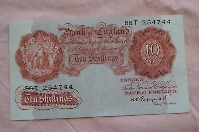 Bank of England Ten Shilling 10/- Banknotes PEPPIATT 88T 254744 bit dirty, sadly