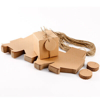50PCS KRAFT PAPER WEDDING PARTY CANDY GIFT FAVOR BOXES Vintage with String & Tag