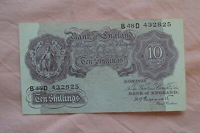 Bank of England Ten Shilling 10/- Banknotes PEPPIATT B48D 432825  dirty, sadly
