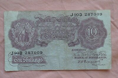 Bank of England Ten Shilling 10/- Banknotes PEPPIATT J90D 287009 circulated??