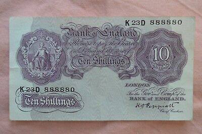 Bank of England Ten Shilling 10/- Banknotes PEPPIATT K23D 888880 Lucky Note??