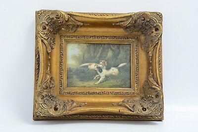 "Antique Picture Frame And Printed Picture Of ""two Collie Dogs"" (Ms10)"