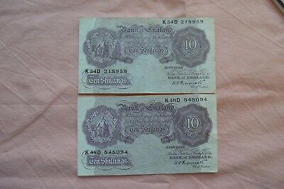 Bank of England Ten Shilling 10/- Banknotes PEPPIATT K54D and K48D both ROUGH!