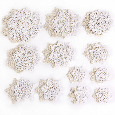 24 Hand Crochet Doilies 7-18cm White & Beige Vintage Snowflake Wedding Tea Party