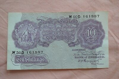Bank of England Ten Shilling 10/- Banknotes PEPPIATT W50D 161887 circulated??