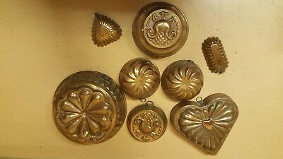 Vintage / Antique Copper Jelly Moulds Shaped Kitchenalia