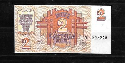 Latvia #36 1992 2 Rubli Xf Circulated Old Banknote Paper Money Currency Note