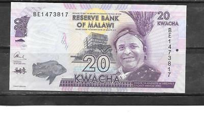 Malawi #57 2016 Unc New 20 Kwacha Currency Banknote Bill Paper Money