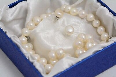 Sterling Silver Pearl Necklace & Earrings Set  (Ms14)