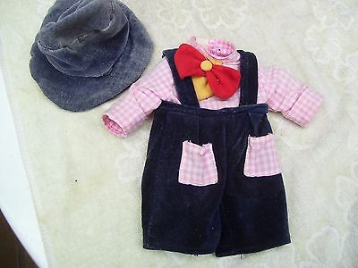 Alte Puppenkleidung Velvet Clown Jumper Hat Outfit vintage Doll clothes 30cm Boy