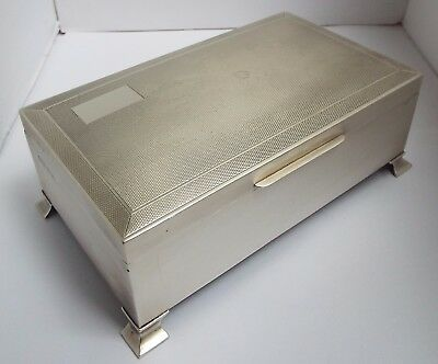 SUPERB CONDITION LRGE HEAVY 557g ENGLISH ANTIQUE 1969 SOLID SILVER CIGARETTE BOX