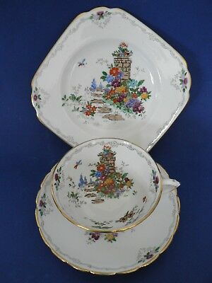 Vintage Tuscan china tea cup saucer plate trio garden path English charm
