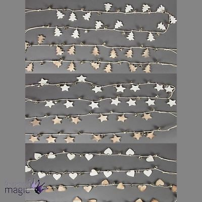 Sass Belle Rustic Wood Heart Star Tree Christmas Garland Wall Hanging Home Gift