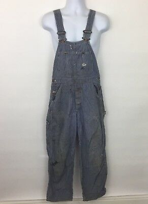 VTG Lee striped denim jean bib overalls Mens blue white conductor work no size