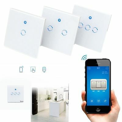 UK/US/EU Sonoff WiFi Wireless Glass Panel Touch LED Light Smart Switch Module FF