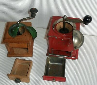 2 mini Antique Mount Mill   Moulin a cafe   doll dinette doll  house