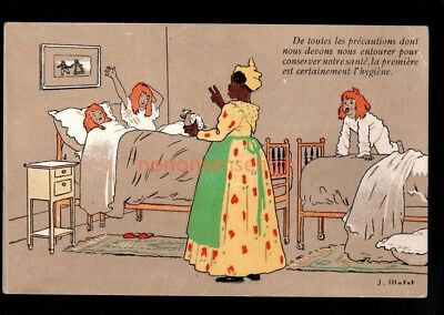 6 x BLACK HUMOUR NEGRO Maid Tries To Bathe Young Red Head Girls POSTCARDS NE14