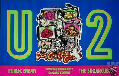 U2 POSTER PUBLIC ENEMY Sugarcubes OAKLAND COL ORIG BILL GRAHAM BGP65 Over Sized