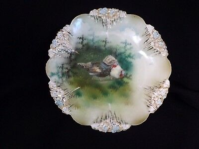 Rare RS Prussia Porcelain Icicle Mold ~ BARNYARD ~  Turkey Plate