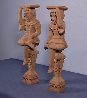 "*23"" Pair of Vintage Unfinished Oak Figures/Support Posts Pillars Architectural"