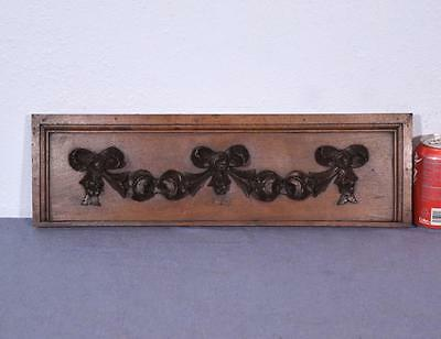 *French Antique Carved Panel Solid Oak Wood with Roses Salvage