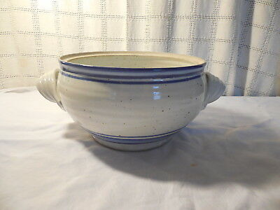 Nice art pottery studio stoneware two handle pot, bowl signed blue strippes