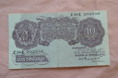 Bank of England Ten Shilling 10/- Banknotes PEPPIATT Z08E 202896 roughish