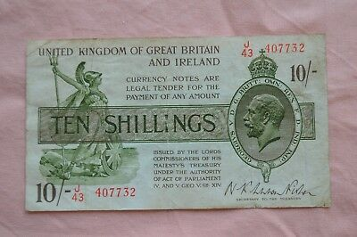 Warren Fisher Treasury Banknote Ten Shillings 10/- J43 407732 quite rough!