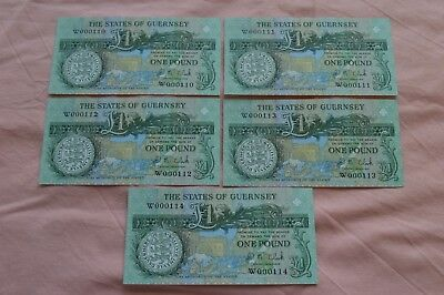 States of Guernsey One Pound £1 Banknotes  FIVE x CONSECUTIVE W000111 - W000114
