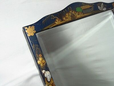 ATTRACTIVE ANTIQUE c1920 CHINESE BLUE CHINOISERIE DECORATED FRAMED MIRROR