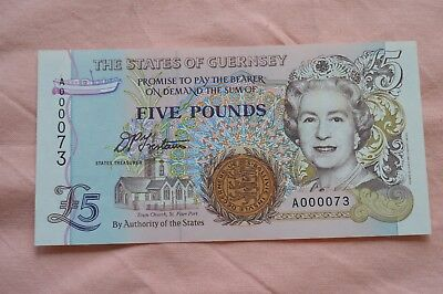 States of Guernsey Five Pound £5 Banknote A000073 Lovely Serial No and condition