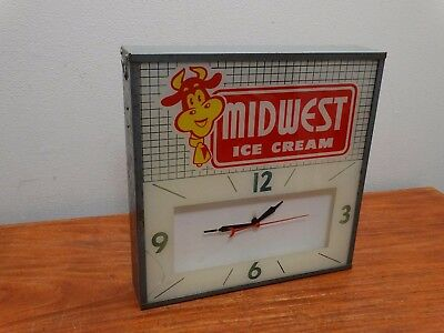 Vintage 50s 60s Midwest Ice Cream Lighted Countryman Advertising Clock