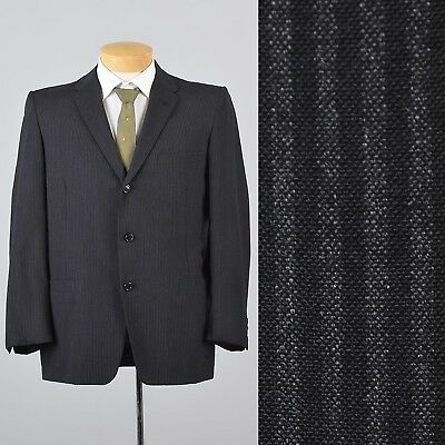 40S Medium Vintage 1950s 50s Black Gray Stripe Jacket Sportcoat Rockabilly Elvis