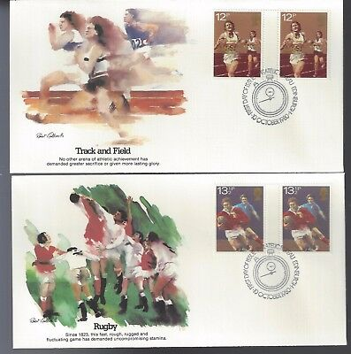 1980 United Kingdom FDC Set of 4 Covers Track and Field Gutter Pairs