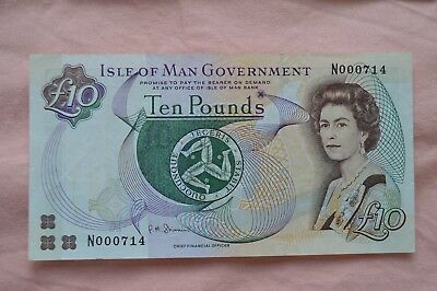 Isle of Man Government Ten Pound £10 Banknote N000714 Nice Serial, ROUGH Note!