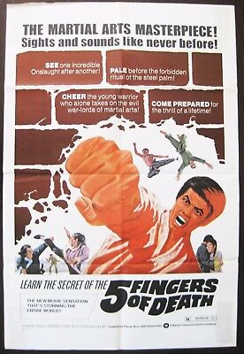 5 Fingers Of Death 1973 Lo Lieh Ping Wang Bolo Yeoung Original US Poster