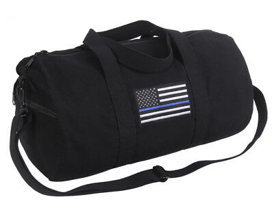 Support Police Thin Blue Line I Stand For US Flag Shoulder Gym Canvas Duffel Bag