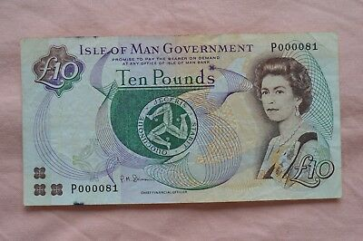 Isle of Man Government Ten Pound £10 Banknote P000081 Nice Serial, ROUGH Note!