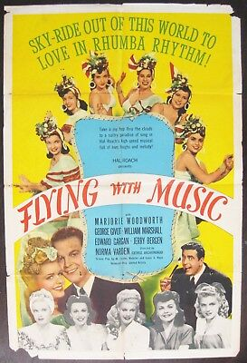 Flying With Music 1942 Hal Roach William Marshall Original US One Sheet Poster