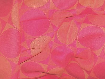 Vintage 60s BARBARA BROWN Reciprocation funky Geometric fabric almost 3 YDS