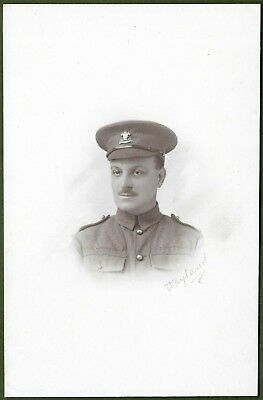 WW1 Cabinet Photo of Soldier Wearing Cheshire Regt Cap Badge c1916.