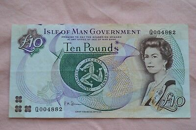 Isle of Man Government Ten Pound £10 Banknote Q004882 Nice Serial, iffy Note!