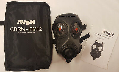 FM12 Gas Mask Size 3 With Bag & User Manual  Avon (A516)