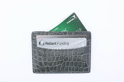 IRREGULAR Grey Glazed Genuine Alligator 5 Pocket Card Case MADE IN USA