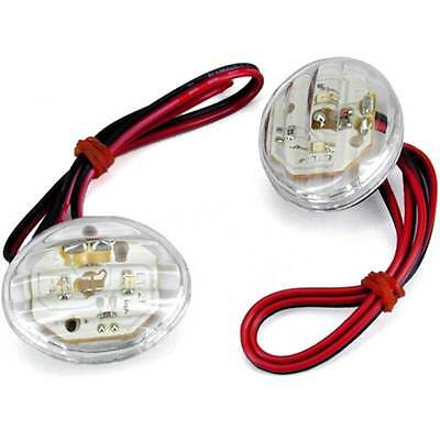 Cateye Pair Of Indicators FROM HULL MOTORCYCLE SCOOTER GLASS TRANSPARENT LED 12V