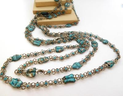 Antique 19th C. Chinese Export Silver Enamel Fish Cicada Flower Link Necklace F6