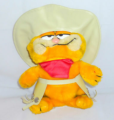 "Vtg Garfield 80's Dakin Plush Collectible Cowboy Cat  8.5"" Tall"